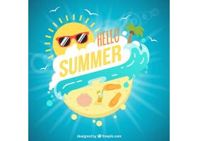 有趣的夏日背景阳光和大海_1128740