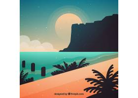 日落背景下可爱的海滩_1184895