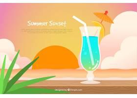 日落背景下的夏日鸡尾酒_1167580