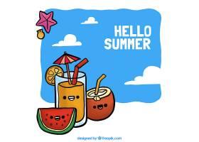手绘背景与夏日饮品_1109839