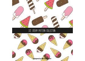 手绘风格的冰淇淋装饰图案_1137809