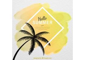您好水彩画风格的棕榈树剪影的夏日背景_2141520