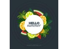 您好热带水果的夏日背景_2162975