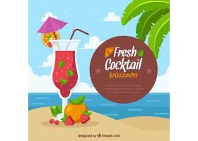 扁平设计的海滩鸡尾酒背景_1167618