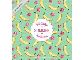 手绘复古风格的香蕉和花卉图案_897679