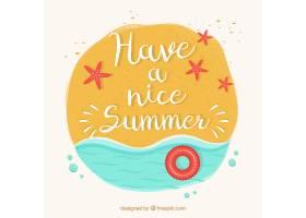 手绘夏日背景带海边和短语_892400
