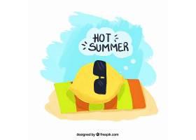 手绘太阳镜和沙滩毛巾背景_895086