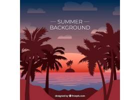 平坦的夏日背景日落时棕榈树的轮廓_2240814