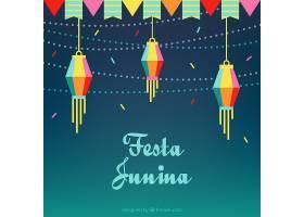 平坦的背景有花环和灯笼为Festa Junina_1124296