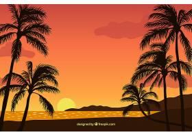 平坦的落日背景有棕榈树_2302984