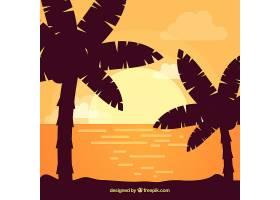 平坦的落日背景有棕榈树_2302985