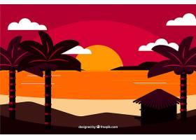 平坦的落日背景有棕榈树_2302989