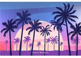 平坦的落日背景有棕榈树_2302990