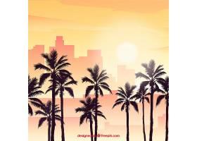 平坦的落日背景有棕榈树_2302993