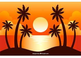 平坦的落日背景有棕榈树_2302995