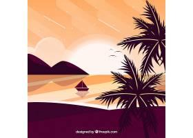 平坦的落日背景有棕榈树_2303007