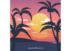 平坦的落日背景有棕榈树_2303024