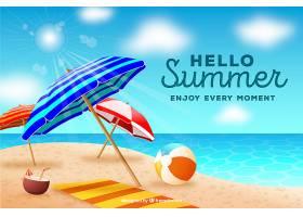 您好夏日背景采用写实风格的海滩元素_2140678
