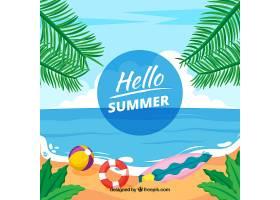 您好带海滩景色的夏日背景_2162969