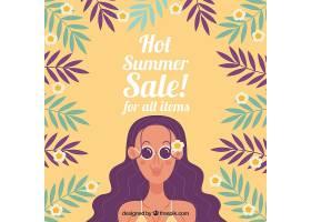 平淡的夏季销售背景带女人和树叶_2153128