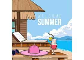 您好带海滩景色的夏日背景_2163012