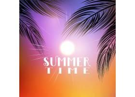 带有棕榈树枝条的夏季主题背景_1155695