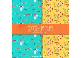 带有水彩元素的夏日装饰图案_1115394