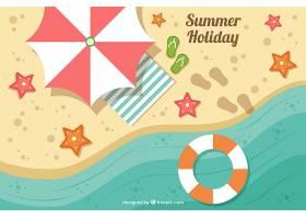 带有海滩元素的夏季背景_1112055