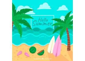 带有海滩元素的夏季背景_2146403