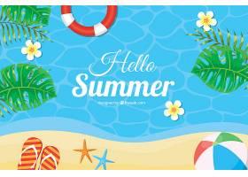 带有海滩元素的夏季背景_2146412