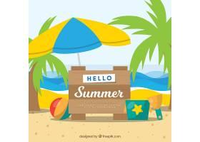 带有海滩元素的夏季背景_2146416