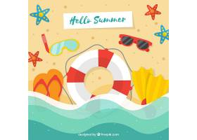 带有海滩元素的夏季背景_2146417
