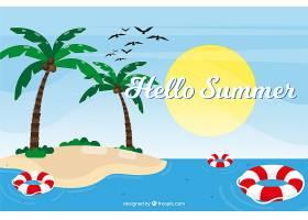 带有海滩元素的夏季背景_2146418