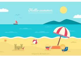 带有海滩元素的夏季背景_2146436