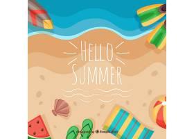 带有海滩元素的夏季背景_2146445