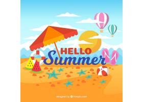 带有海滩元素的夏季背景_2146446
