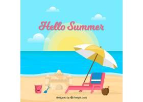 带有海滩元素的夏季背景_2146447