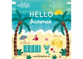 带有海滩元素的夏季背景_2146448