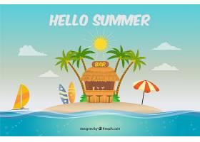 带有海滩元素的夏季背景_2146450