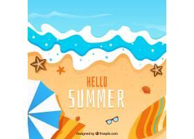 带有海滩元素的夏季背景_2146455