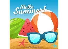 带有海滩元素的夏季背景_2146952