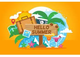 带有海滩元素的夏季背景_2146997