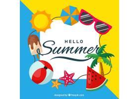 带有海滩元素的夏季背景_2147291