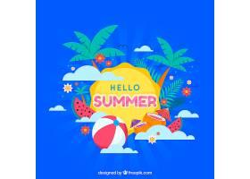 带有海滩元素的夏季背景_2147292