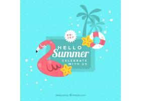 带有海滩元素的夏季背景_2147297
