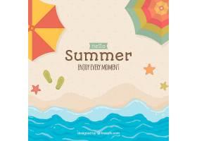 带有海滩元素的夏季背景_2147299