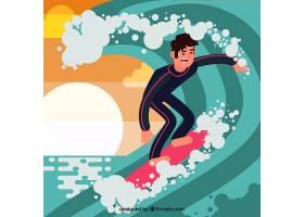 平面设计中的冲浪者背景_1113054