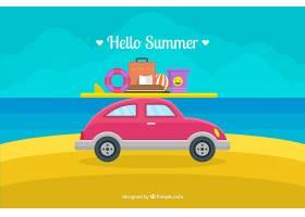 带有海滩元素的夏季背景_2147300