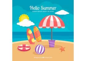 带有海滩元素的夏季背景_2147301
