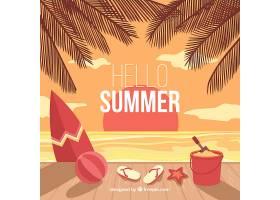 带有海滩元素的夏季背景_2147302